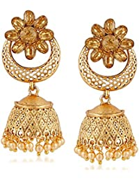 Meenaz Traditional Pearl Jewellery Gold Jhumki Party Wear Stylish Jhumka Earrings For Women Girls Necklace Jewellery... - B07CBT8L2Q