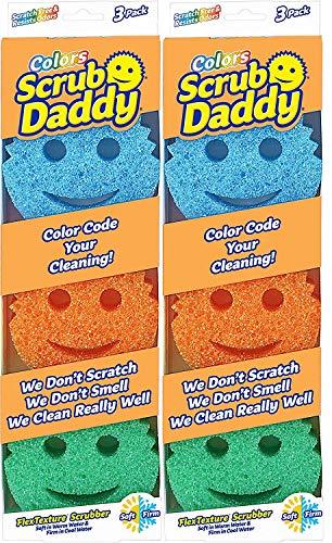 Scrub Daddy - Original temperaturgesteuerter Farbschrubber - Kratz- & geruchsbeständig - 6 Stück