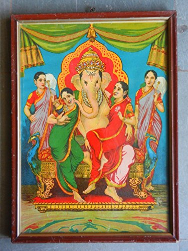 Vintage Lord Ganesha With Ridhi & Sidhi Litho Print Wooden Frame