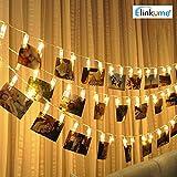 ELINKUME foto Clip cadena de luces, 20 Foto Clips, 2,2 metros/7,21 pies, blanco cálido, con pilas, ideal para colgar fotos, notas, Memos y de arte.