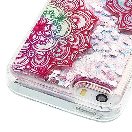 Mk Shop Limited Coque pour iPhone SE, iPhone 5 / 5S Coque,iPhone SE / 5S / 5 Gel 3D Transparent Hourglass Sables Mouvants Liquide Coque Slim Soft Etui Housse, iPhone SE / 5S / 5 Silicone Clear Case TP Multi-couleur 7