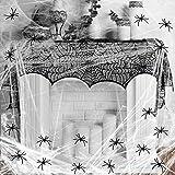 KAKOO Halloweendeko Set Spinnweben mit 30 Spinnen Spitze Spinnennetz Decke für Kamin Tür Karneval Halloween Party Grusel Deko (schwarz Türvorhang Spinnweben)