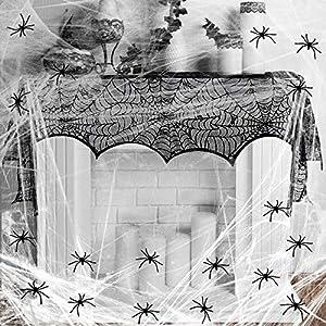 KAKOO 32tlg Grusel Deko Set Schwarz Spitze Spinnennetz Kamin Tür Dekostoff mit 60g Spinnweben und 30 Spinnen Horror für…