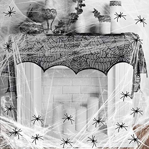 KAKOO Halloweendeko Set Spinnweben mit 30 Spinnen