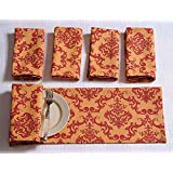 Patterned Cotton Dinner Napkins - 20 Inch X 20 Inch - Set Of 12 Premium Table Linens For The Dining Room - Orange And Red Damask