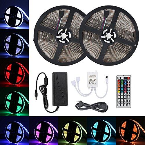 Lampwin [2er Set] LED Streifen Lichterkette RGB 5M 300LEDs 5050 SMD, 20 Farben 44-Taste Ferbedienung IP65 Wasserdicht für Gärten, Rasen, Patio, Weihnachtsbäume, Hochzeiten, Partys Dekoration