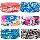 ZeWoo 6 Stück / Packung gedruckt Bandanas Multifunktionstuch Rohr Kopfbedeckungen Bandana Schal Elastische Halstücher für Yoga, Wandern, Reiten, Motorradfahren (Set 2)