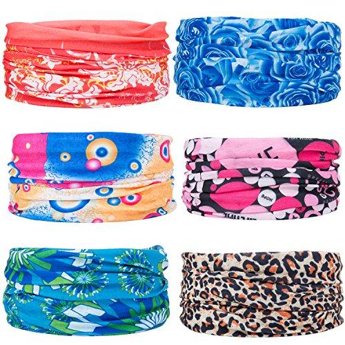 ZeWoo 6 Stück / Packung gedruckt Bandanas Multifunktionstuch Rohr Kopfbedeckungen Bandana Schal Elastische Halstücher für Yoga, Wandern, Reiten, Motorradfahren (Set 2) (Gedruckt Liege Deckt)