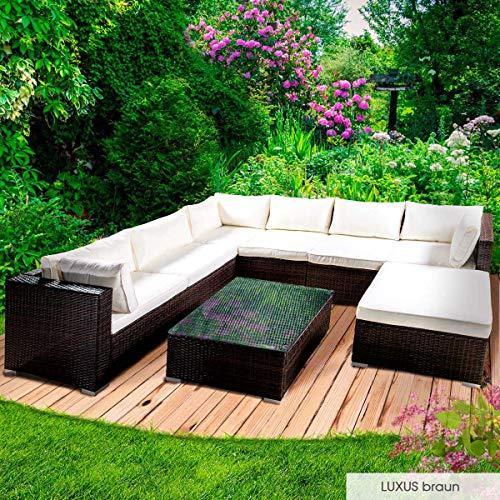 Gartenmöbel (BRAST Poly-Rattan Gartenmöbel Lounge Set 14 Modelle 3 Farben 4-12 Personen Sitzgruppe Luxus Braun)