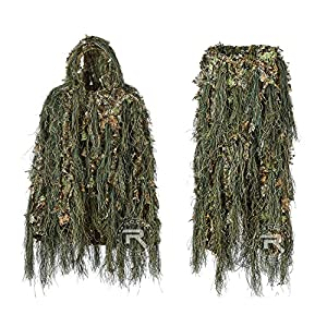 YITAOTTG Hybride Woodland Camouflage Ghillie Costume de Chasse Poids Léger Costume, Ghillie Suit, Silent Voice