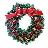 Beisaqi 30 cm Red Ribbon Christmas Door Wreath Festival Decoration-Pine Cones