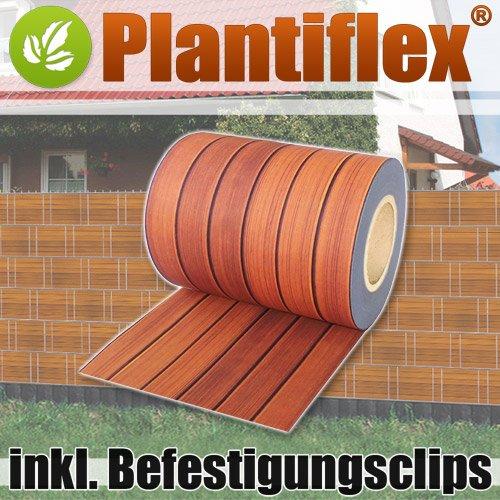 Sichtschutz Rolle 35m blickdicht PVC Zaunfolie Windschutz für Doppelstabmatten Zaun (Holzdekor)