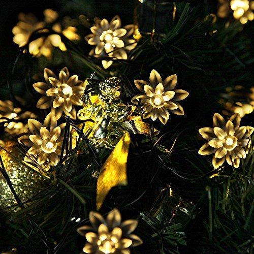 SpiritSun 6 Meter 20er LED Solar Lichterkette Warmweiß Lotus Blume String Lights Deko Innen Solar Beleuchtung für Weihnachten, Garten, Hof, Party, Heim-Dekoration