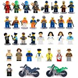 Minifigures Set of 32+2 Includes Building Bricks Community People from Different Industries Complete with Tools Lego-Compatible