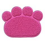Hexawata Non Slip Cat Door Mat Traps Litter from Box and Paws for Kitty Dogs Rabbit Fuchisa 12x16 Inch