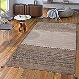 Handwebteppich Wohnzimmer Natur Webteppich Kelim Modern Baumwolle Streifen Beige, Größe:200x290 cm