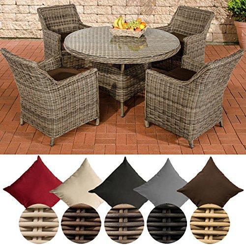 CLP Poly-Rattan Sitzgruppe BOVINO, 5 mm RUND-Geflecht, Aluminium Gestell (4 x Sessel Sandnes + Tisch rund Ø 130 cm) Rattan Farbe grau-meliert, Bezugfarbe: Terrabraun