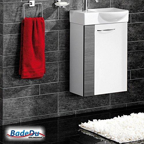 Fackelmann SCENO Badmöbel Set Gäste-WC Farbe Weiß/Pinie-Anthrazit-Optik (2-teilig) - Waschbecken rechts