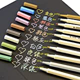 Butterme Metallic Marker Pens,Set of 10 Colors for Card Making/DIY Photo Album/Use on Any Surface-paper/Glass/Plastic/Pottery