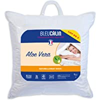 Bleu Câlin, Lot de 2 Oreillers Aloe Vera Moelleux Blancs 60x60 cm OAVH50