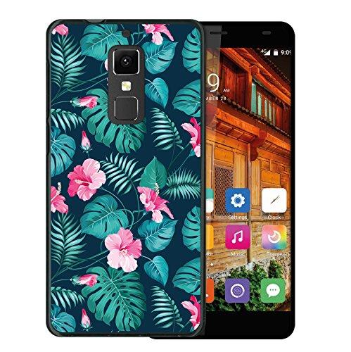 WoowCase Elephone S3 Hülle, Handyhülle Silikon für [ Elephone S3 ] Tropische Blumen 2 Handytasche Handy Cover Case Schutzhülle Flexible TPU - Schwarz
