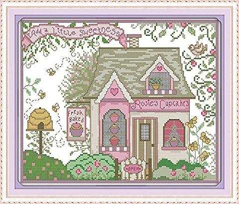 YEESAM ART® New Cross Stitch Kits Advanced - Teahouse 14 Count 33x28 cm White Canvas - Needlework Christmas