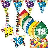 Carpeta 54-Teiliges Partydeko Set * Zahl 18 * für Geburtstag Oder 18. Geburtstag mit Girlande, Rotorspiralen, Luftschlangen und Vielen Luftballons