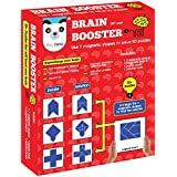 Play Panda Brain Booster Type 1 - 56 puzzles designed to boost intelligence - with Magnetic shapes, Magnetic board, Puzzle book and Solution book,Red
