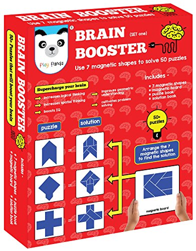 Play Panda Brain Booster Set 1 56 puzzles designed to boost intelligence(magnetic shapes, magnetic board, puzzle book, solution book included)
