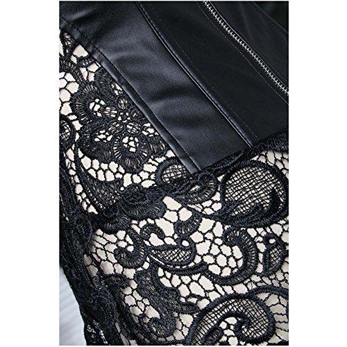 TDOLAH Damen Sexy Gothic Kunstleder Korsagenkleid Schwarz Leder corsage Clubwear S-6XL (EUR 40-42/XXL, A-Schwarz) - 6