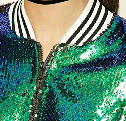 Reißverschluss Vorne Zip Up Shiny Pailletten Paillettenverziertem Paillettenverzierung Sparkly Glitter Grün Collegejacke Bomberjacke Blouson Aviator Flight Jacket Jacke Oberteil Top - 4