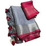 INDIA SILK PWCS LTD Women's Jivika Linen Slub Saree with Contrast Blouse (CSZCP92, Grey Pink)