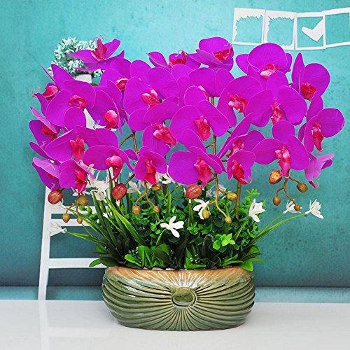 Jnseaol Kunstblumen Künstliche Blumen Orchidee Weihnachtsgeschenke Keramik Töpfe DIY Hotel Wohnzimmer Hochzeit Party Küche Ein Großes Dekor Lila-02