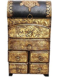 Latest Home Decor Handmade Vertical Six Drawer Wooden Box With Brass Work Gift (8 X 15 Inches)