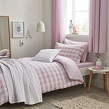 Bianca Kids - Set de fundas para edredón - Para dormitorio infantil - 100 % algodón - Diseño a cuadros rosa colorete - Matrimonio (Reino Unido)