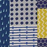 echino Fabrics Wachstuch mit Blauen Streifen und Rechtecken