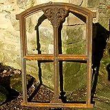 Stallfenster aus Gusseisen in Antik Optik klappbar | 47 x 32 cm | Eisenfenster für Gartenmauer (rostig), rustikaler Look, Kirchenfenster von Antikas