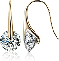 Mestige Gold Eclipse Earrings with Swarovski Crystals (Gold) Gifts Women Girls, Classic Drop Hook Dangle-Earrings (MSER3196)