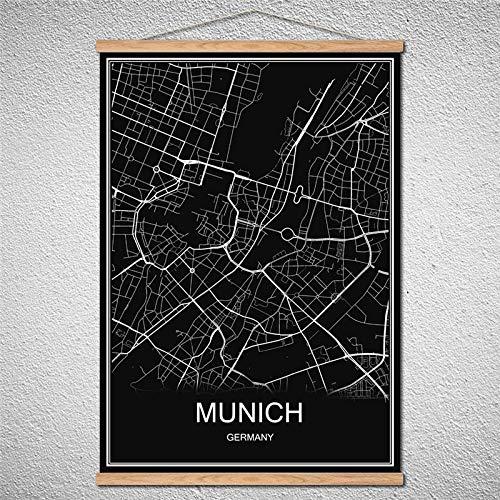 TIANLIANG Mailand Welt Stadtplan Poster Öl Gemälde Leinwand Abstrakte Bild Drucken Cafe Bar Einrichtung Blättern Zeichnungen Mit Rahmen, München, 42 X 30 cm Ohne Rahmen