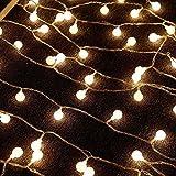 Goodid guirnalda de luces led para decoración de jardín patio boda fiesta Navidad, Cadena de luces decorativas de 10M 70 bombillas led rondas (Amarillo)