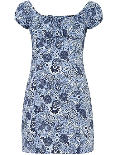 oodji Ultra Femme Robe en Coton Imprimé Bleu (7079E)