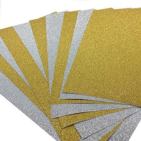 10 Blatt Klebefolie Glitzer Selbstklebende Dekofolie A4 Farbige Bastelfolie Glitter Vinyl Aufkleber für DIY Handwerk Scrapbooking Gold mit (Glitter Blätter)