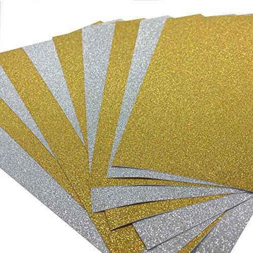 10 Blatt Klebefolie Glitzer Selbstklebende Dekofolie A4 Farbige Bastelfolie Glitter Vinyl Aufkleber für DIY Handwerk Scrapbooking Gold mit Silber (Gold-handwerk)