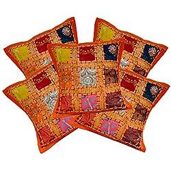 5pcs étnico indio hecho a mano Vintage bordado lentejuelas Patchwork almohada fundas de cojín 12x 12pulgadas