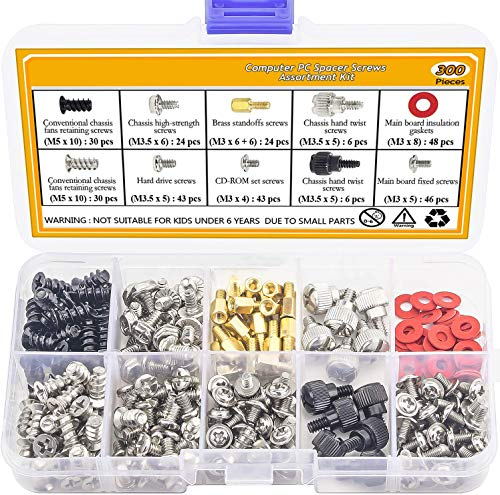 Justec 300PCS Personal Computer Screw Standoffs Set Kit for Hard Drive, Computer Case, Motherboard, Fan, Power Graphics