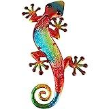 Liffy métal Gecko décoration murale extérieure lézard jardin Art décorations en verre à suspendre pour patio ou clôture