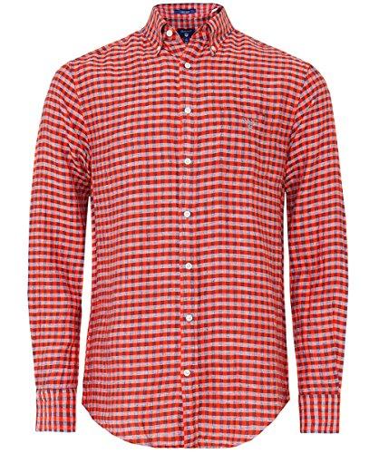 Gant Hommes chemise à carreaux lin Orange Orange