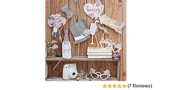 Ginger Ray Retro Wedding Day Photobooth Props - Rustic Country