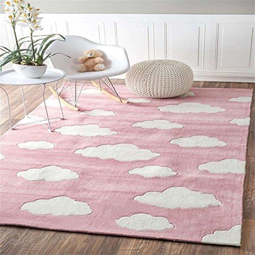 Q Kinder Wolken Blau / Rosa Rechteckigen Teppich, schöne Bereich Teppich / Matte für Mädchen Zimmer Schlafzimmer Nacht Kindergarten, benutzerdefinierte handgemachte Teppiche ( Farbe : Pink , größe : 140*200cm )