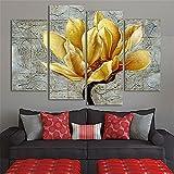 Nuohuilekeji 4Pcs/Set Frameless Yellow Flower Wall Art Paintings Hotel Living Room Decoration
